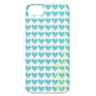 turquoise hand drawn hearts with name iPhone SE/5/5s case