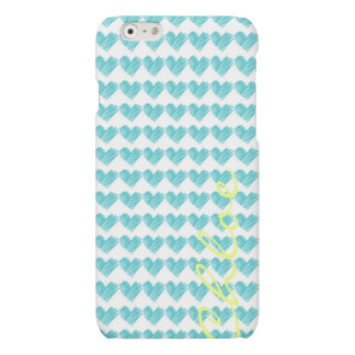 turquoise hand drawn hearts with name matte iPhone 6 case