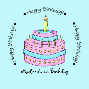 Turquoise Happy 1st Birthday Cake Name Personalize Paper Plate