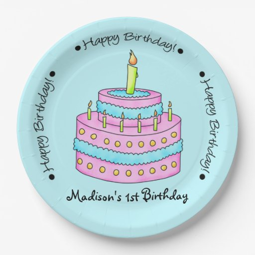 Turquoise Happy 1st Birthday Cake Name Personalize 9 Inch ...