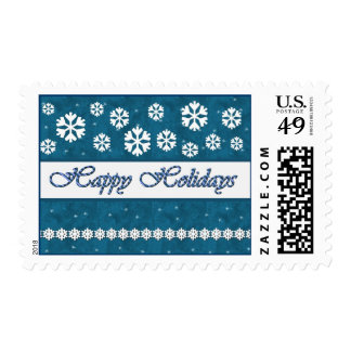 TURQUOISE Happy Holidays Candy Cane & Snowflakes Postage