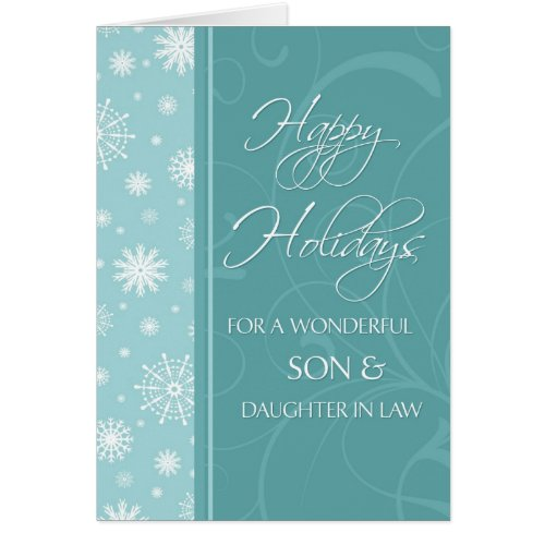 Turquoise Happy Holidays Christmas Card Sales 330