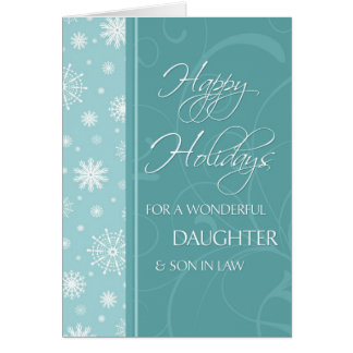 Turquoise Happy Holidays Christmas Card