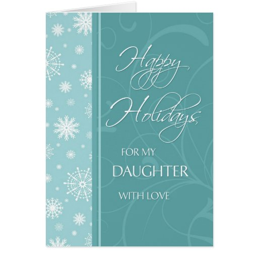 Turquoise Happy Holidays Daughter Christmas Card