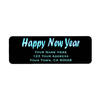 turquoise happy new year label
