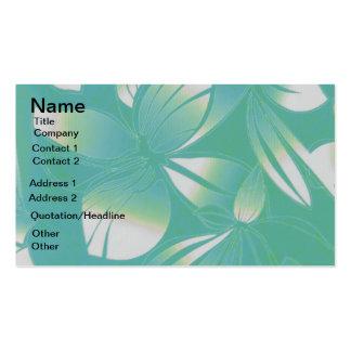Turquoise Hawaiian Floral Print Business Card