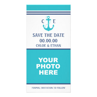 Turquoise Heart Anchor Photo Save the Date Card