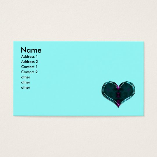 turquoise heart business card