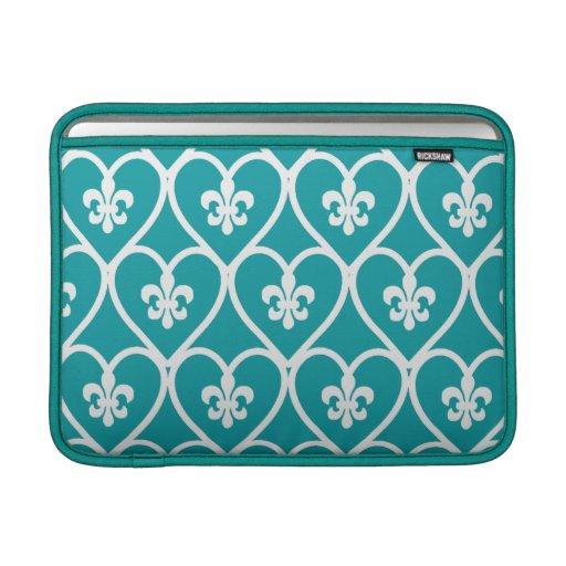 Turquoise Heart Fleur De Lis MacBook Air Sleeve