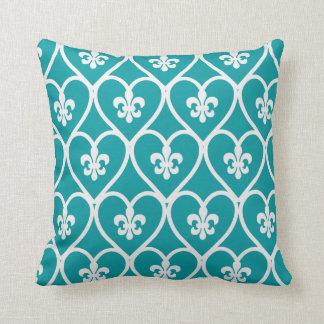 Turquoise Heart Fleur De Lis Pillow