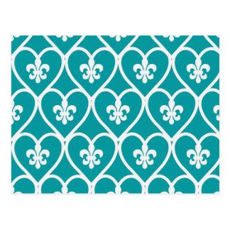 Turquoise Heart Fleur De Lis Post Cards