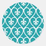 Turquoise Heart Fleur De Lis Round Sticker