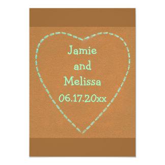 Turquoise Heart on Terra Cotta Wedding Invitations