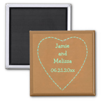 Turquoise Heart Save the date Wedding Magnets