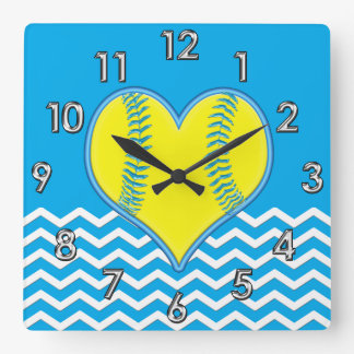 Turquoise Heart Shape Softball Clock or YOUR COLOR