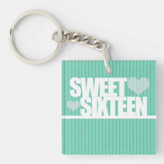 Turquoise Heart & Stripe Sweet 16 Birthday Chain Keychain
