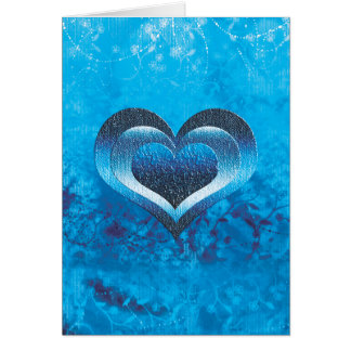Turquoise heart valentine blue card