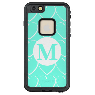 Turquoise Hearts Monogrammed LifeProof Case