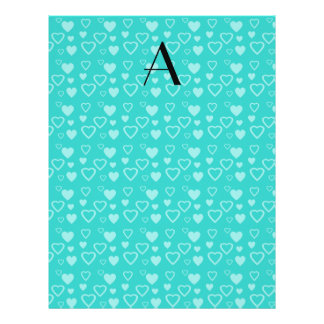 Turquoise hearts pattern monogram personalized flyer