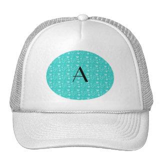 Turquoise hearts pattern monogram trucker hat