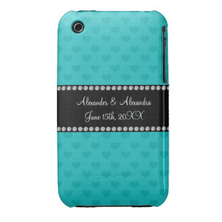 Turquoise hearts wedding favors iPhone 3 cover