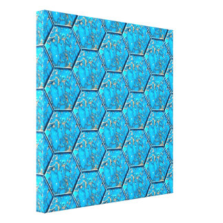 Turquoise Hexagon Tiles Canvas Print