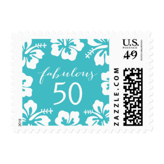Turquoise Hibiscus Floral Fabulous 50 Postage Stamps