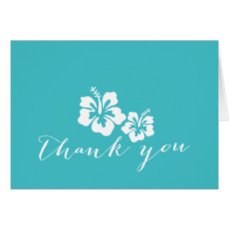 Turquoise Hibiscus Flowers Thank You Cards