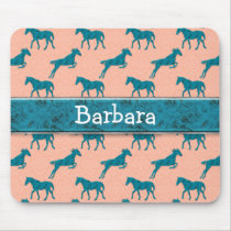 Turquoise Horse Personalized Mouse Pad
