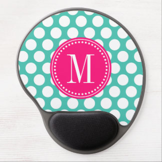 Turquoise & Hot Pink | Big Polka Dots Monogram Gel Mouse Pad