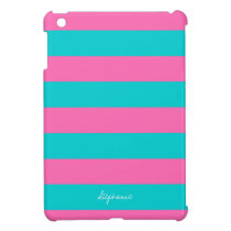 Turquoise & Hot Pink Stripe Pattern iPad Mini Case