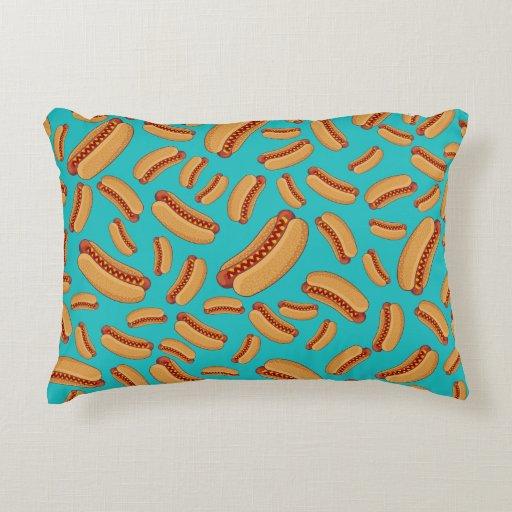 Cute Aqua Throw Pillows : Turquoise hotdogs decorative pillow Zazzle