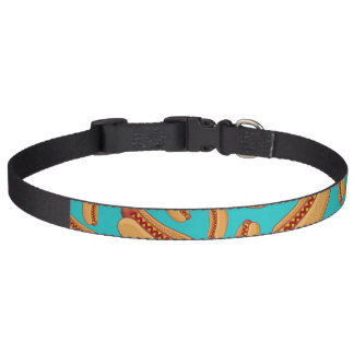 Turquoise hotdogs pet collar