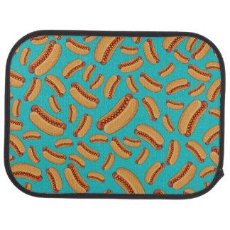 Turquoise hotdogs floor mat