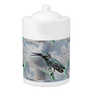 Turquoise Hummer In the Clouds Medium Tea Pot