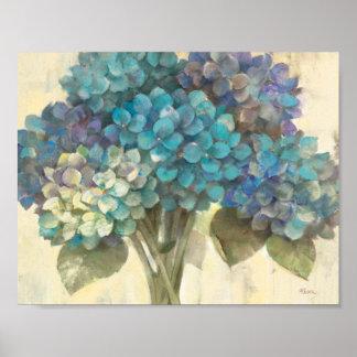 Turquoise Hydrangea Poster
