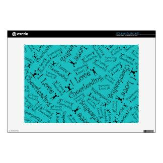 "Turquoise I love cheerleading 13"" Laptop Decals"