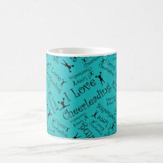 Turquoise I love cheerleading Coffee Mug
