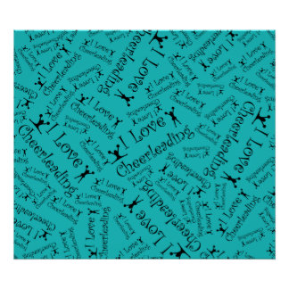 Turquoise I love cheerleading Poster