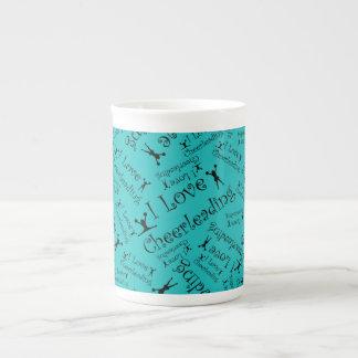 Turquoise I love cheerleading Porcelain Mug