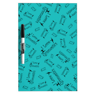 Turquoise I love gymnastics Dry-Erase Board