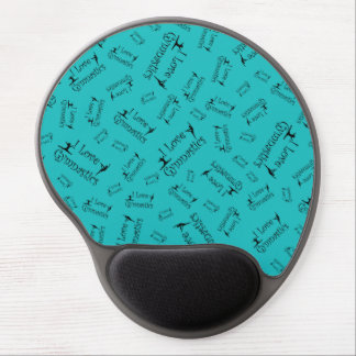 Turquoise I love gymnastics Gel Mouse Pads