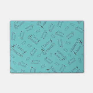 Turquoise I love gymnastics Post-it Notes
