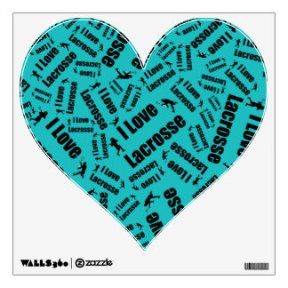 Turquoise I love lacrosse Wall Decal