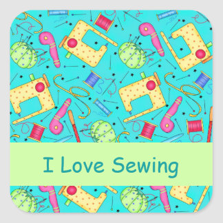 Turquoise I Love Sewing Stickers