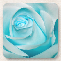 Turquoise Ice Rose Beverage Coasters