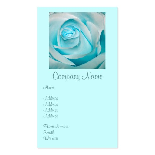 Turquoise Ice Rose Business Card