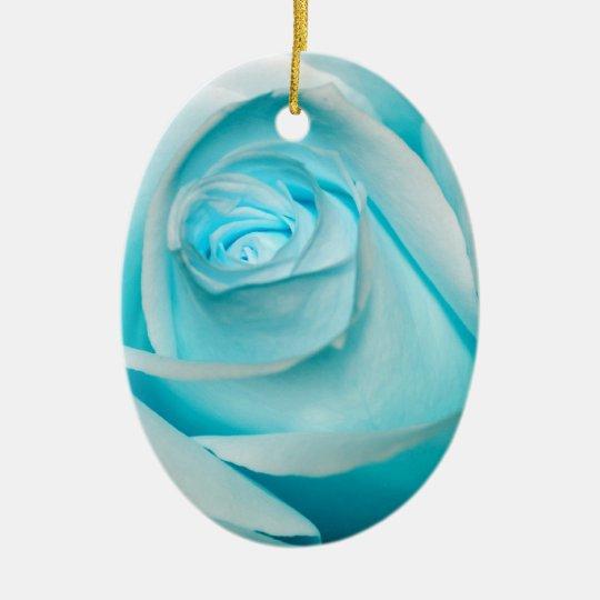 Turquoise Ice Rose Ceramic Ornament