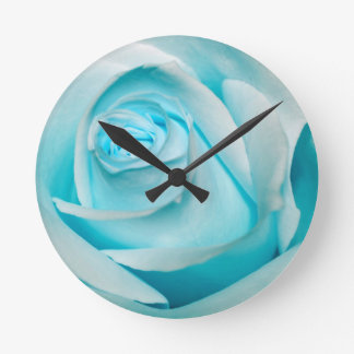 Turquoise Ice Rose Wall Clock