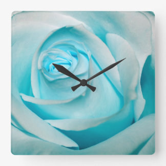 Turquoise Ice Rose Square Wallclocks